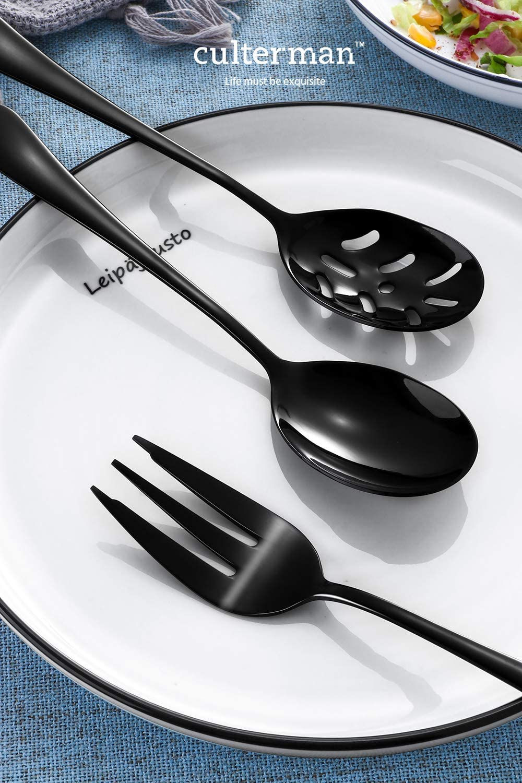 Black Serving utensils set Stainless Steel Hostess Flatware Sets 7-Piece Includes Silverware Large Salad Serving Spoons Forks /& Slotted Spoons,sugar spoons,butter knife.Dishwasher Safe