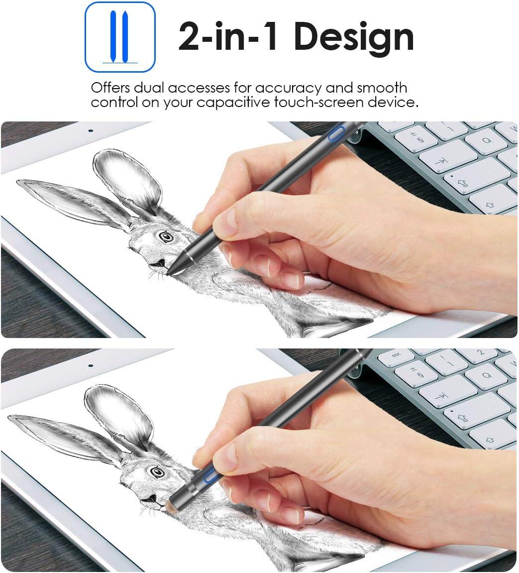 Osaloe Penna Stilo Nero Stilo Capacitivo di Precisione 2 in 1 ad Alta Sensibilit/à con Punta Fine da 1,5 mm Stilo Attivo per iPad//iPhone//Andriod e Altri Dispositivi Touchscreen