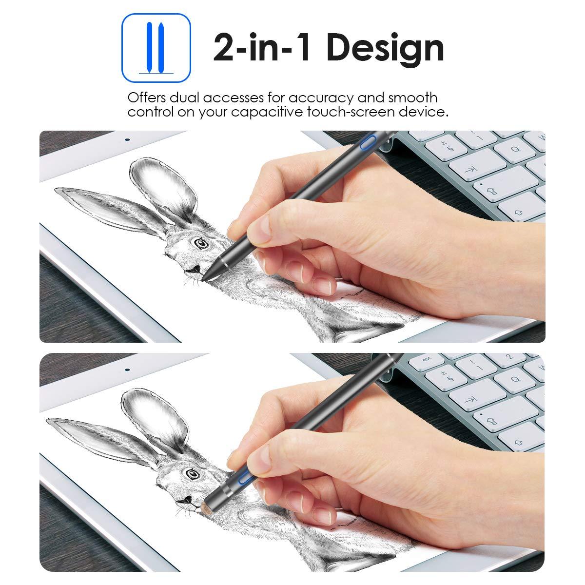 Negro ROVLAK Lapiz T/áctil Capacitivo 2 en 1 Lapiz Capacitivo Punta Fina 1,5 mm Movil Stylus Pen Recargable L/ápiz T/áctil Activo para iPhone iPad Android Tel/éfonos M/óviles de Tablet