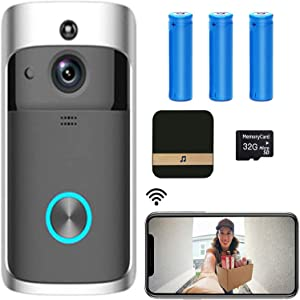 【2021 Upgrade】 WiFi Smart Video Doorbell Camera,720P HD Wireless Remote Home Security Doorbell with Indoor Chime, 2-Way Audio,166°Super Wide-Angle Lens,Motion Detection,Night Vision,32GB SD Card