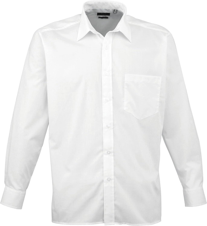 Premier - Camisa Lisa de Manga Larga con Bolsillo Formal/para Trabajar Caballero/Hombre: Amazon.es: Ropa y accesorios