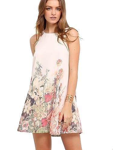 Floerns Women's Loose Floral Tank Dress Summer Sleeveless Dresses