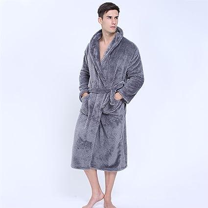 Pijama Albornoz para hombre y damas de terciopelo de coral grueso bata y dos bolsillos delanteros