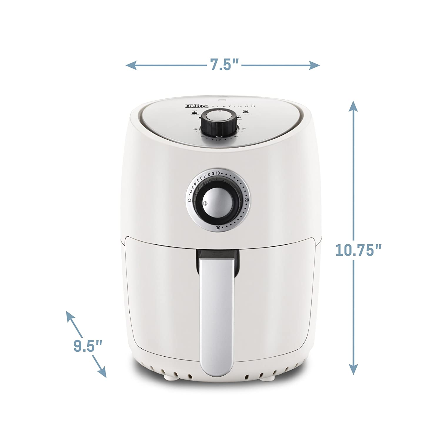2.3 Quart 1000-Watts with 26 Color Recipes White PFOA//PTFE Free Timer /& Temperature Controls Oil-Less Healthy Cooker Elite Platinum EAF-801W Personal Compact Space Saving Electric Hot Air Fryer