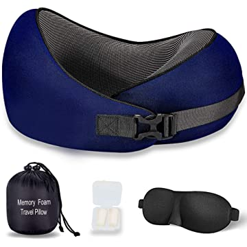itkidboy Travel Pillow Memory Foam Neck Protective Pillow Comfortable & Breathable Cover Human Curve Design Adjustable (Blue)