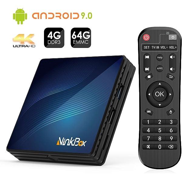 Android 9.0 TV Box 4GB RAM+64GB ROM, NinkBox N1 MAX RK3318 Quad-Core 64bit Cortex-A53, TV Box de Bluetooth 4.0, WiFi 2.4G/5G, 3D Ultra HD 4K, USB 3.0, BT 4.0 Smart TV Box:
