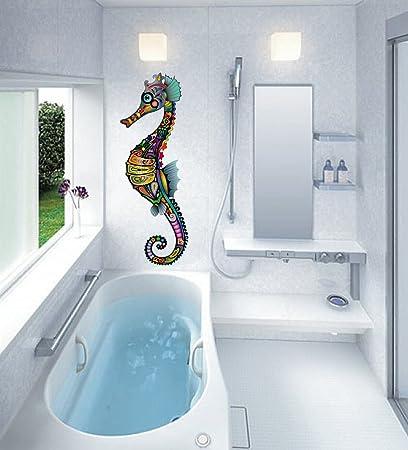 Amazon Com Cik545 Full Color Wall Decal Seahorse Ornament Flowers