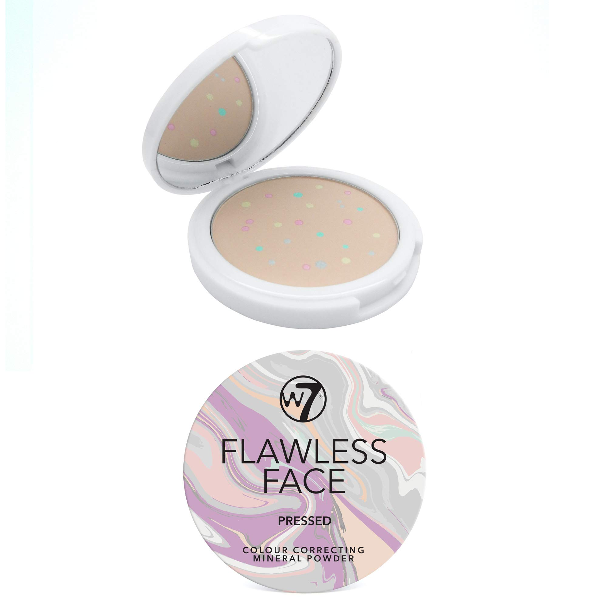 W7 | Flawless Face Colour Correcting Mineral Powder | Pressed Face Powder Makeup | Multi-Coloured Setting Powder Suitable For All Skin Tones | Soft And Lightweight Formula