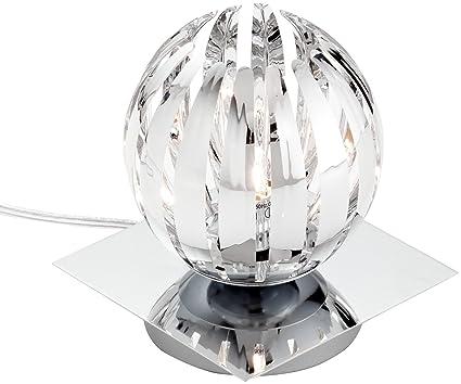 Trio 594010106 Serie 8140 - Lámpara de sobremesa con base espejo, bombilla incluida, G9