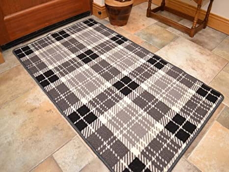 riviera dark grey black tartan non slip machine washable rug rh amazon co uk Machine- Washable Kitchen Rugs Decorative Kitchen Rugs