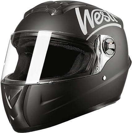 ECE Homologado Westt/® Storm /· Casco Moto Integral Motocicleta Ciclomotor y Scooter en Negro Mate /· Cascos de Moto Integrales Mujer y Hombre