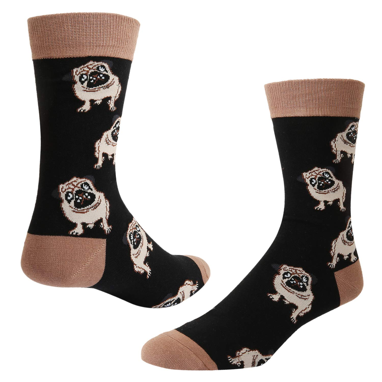 - Men's Novelty Fun Pug Crew Socks Funny Funny Funny Crazy Cute Dog Casual Cotton Socks in Black 770fc5