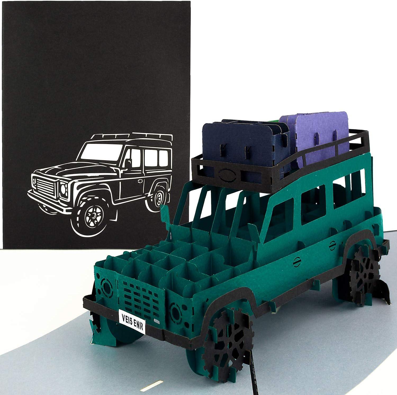 Biglietto di auguri 3D per vacanze avventura PaperCrush/® Biglietto Pop-Up SUV Safari Biglietto auguri fatto a mano con busta andata e ritorno viaggio in auto