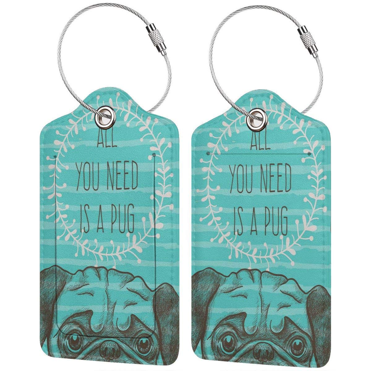 Leather Luggage Tag All You Need Is A Pug Aqua Dog Luggage Tags For Suitcase Travel Lover Gifts For Men Women 4 PCS