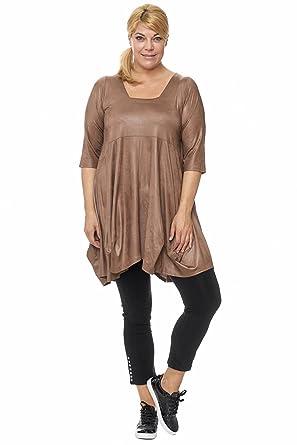 Magna - Damen Übergröße Ballondesign Tunika Kleid Lederoptik mit  Trapez-Ausschnitt Farbe goldbraun  Amazon.de  Bekleidung fb23aeb512