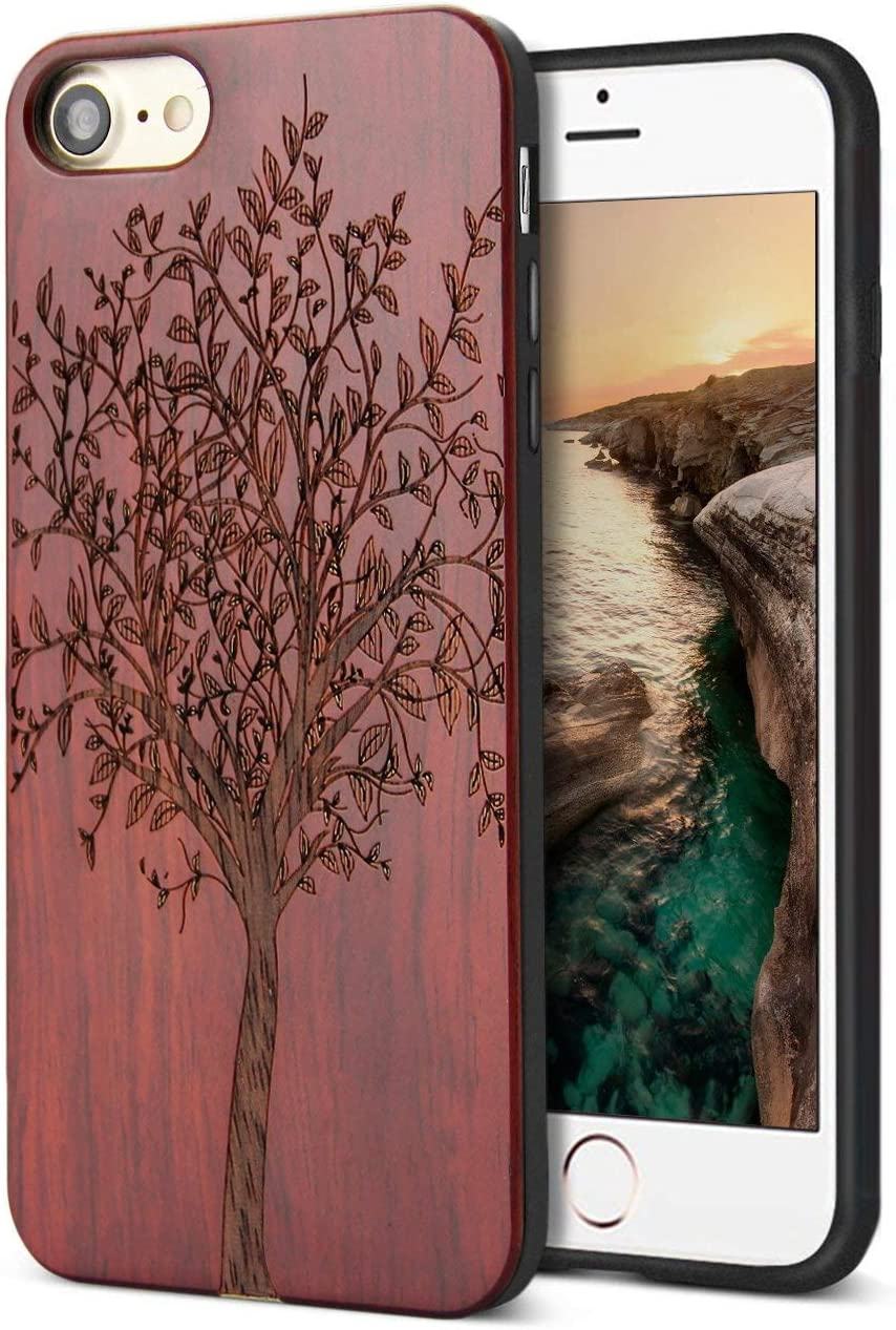 YFWOOD Compatible for Wood iPhone 8 Case, Real Wood Engraving Tree Soft Rubber Cushion Shock Absorption Flexible Anti-Scratch Bumper Protective for iPhone 7/8 iPhone SE 2020 Case
