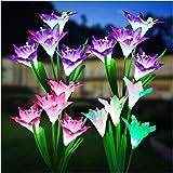 Outdoor Solar Lights, KOOPER 4 Pack Solar Garden Lights with Bigger Lily Flowers, Waterproof 7 Color Changing Outdoor Lights