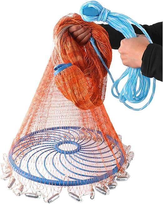 Sinker SODIAL 8Ft 2.4M Fishing Net Bait Easy Throw Hand Cast 3//4 inch Strong Nylon Mesh