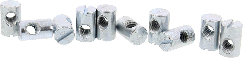 Cross Dowel Barrel Nuts - 1/4-20 16mm x 10mm, Off-Center Zinc Slotted Steel CNC - 10 PACK
