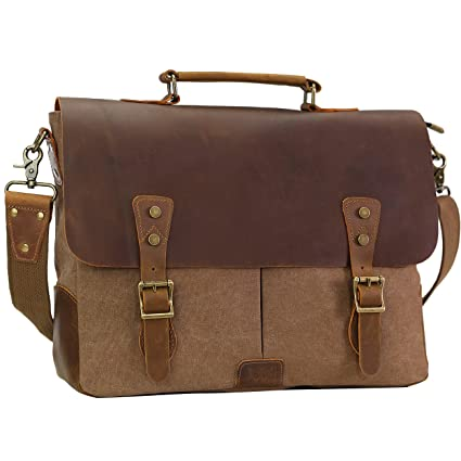 ab714b7b75 Image Unavailable. Image not available for. Color  WOWBOX Messenger Bag for  Men 15.6 inch Vintage Leather ...