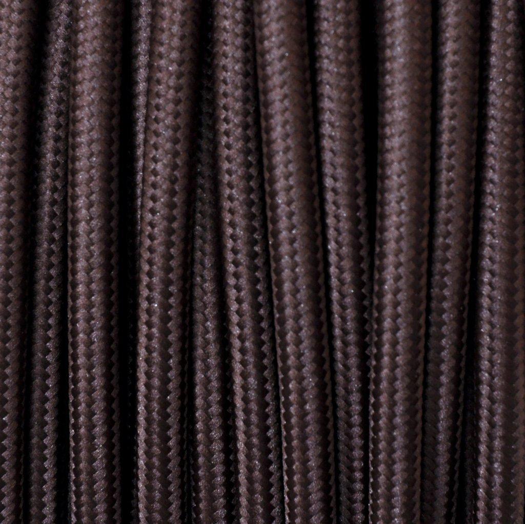 Cavo elettrico tondo rivestito in tessuto colorato per lampadari, lampade, abat jour. Il cavo elettrico diventa design! Scegli fra 30 colori. 5 Metri 2x0,75. Made in Italy! Marrone Merlotti Cavi ZA-2152