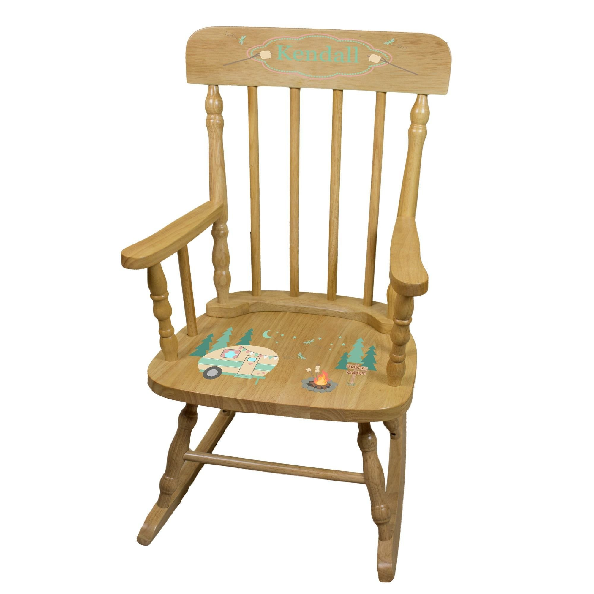 MyBambino Personalized Camp Smores Natural Wooden Childrens Rocking Chair