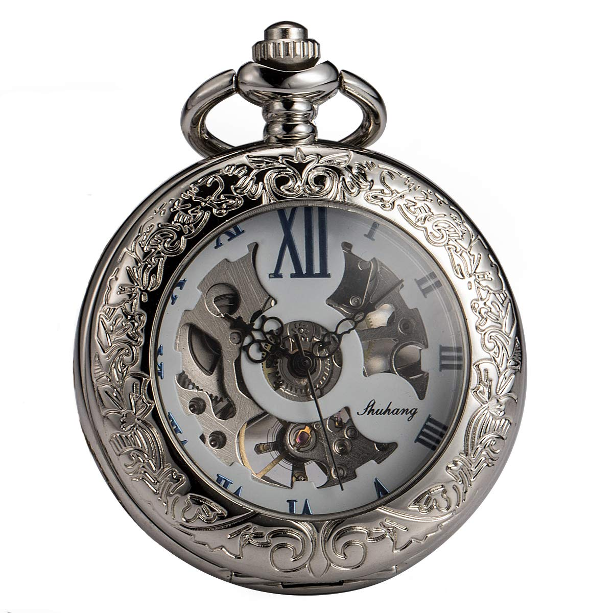 SIBOSUN Magnifier Pocket Watch With Chain Box Skeleton Mechanical Roman Numberals Antique Silver White