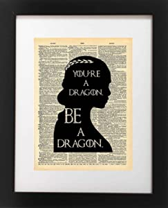 Game of Thrones Art - Khaleesi Dragon Quote - Vintage Dictionary Print 8x10 inch Home Vintage Art Abstract Prints Wall Art for Home Decor Wall Decorations Office Ready-to-Frame Dragon