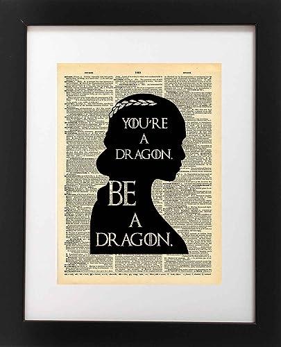 Amazon.com: Game of Thrones Art - Khaleesi Dragon Quote - Vintage ...