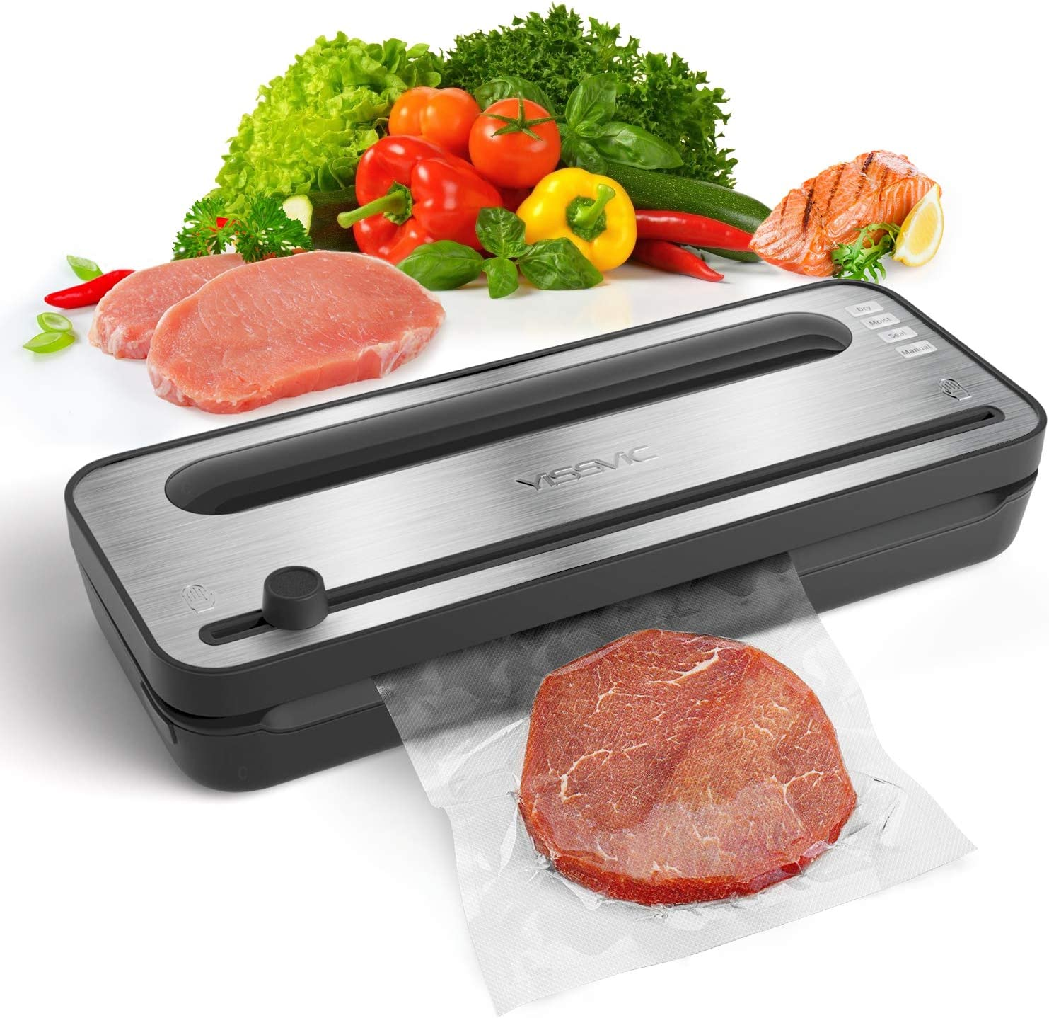 YISSVIC Vacuum Sealer Automatic Vacuum Sealing Machine with Dry and Moist Food Modes for Food Preservation and Sous Vide (Come With 1 Roll Vacuum Bag)