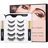 EARLLER Upgraded Magnetic Eyelashes with Eyeliner Kit, 5 Pairs Natural Look 3D False Lashes with Applicator, Including…