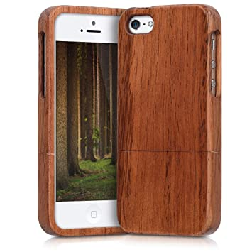 kwmobile Funda compatible con Apple iPhone SE / 5 / 5S - Carcasa protectora de [madera] para móvil - Case en [marrón]
