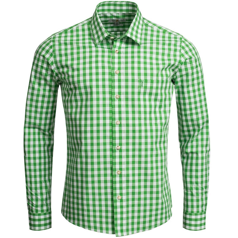 Trachtenhemd Slim Fit in Hellgrün von Almsach