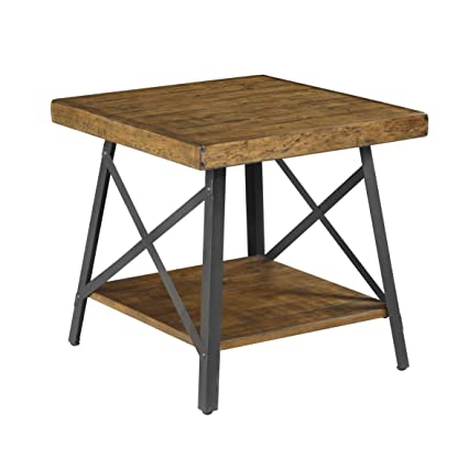 Beau Amazon.com: Emerald Home Chandler Rustic Wood End Table With Solid Wood  Top, Metal Base, And Open Storage Shelf: Kitchen U0026 Dining