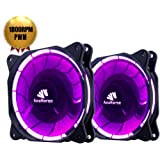 Asiahorse PWM Solar Eclipse-Ultra Quiet Bearing 120mm DC Led Fan for Computer Cases, Long Life CPU Coolers 2pack(PURPLE)