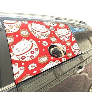 Maneki Neko Lucky Afortunado Bienvenido Gato Mascota Perro Seguridad Coche Impreso Ventana Valla Cortina Barreras Protector para bebé niño Ajustable ...