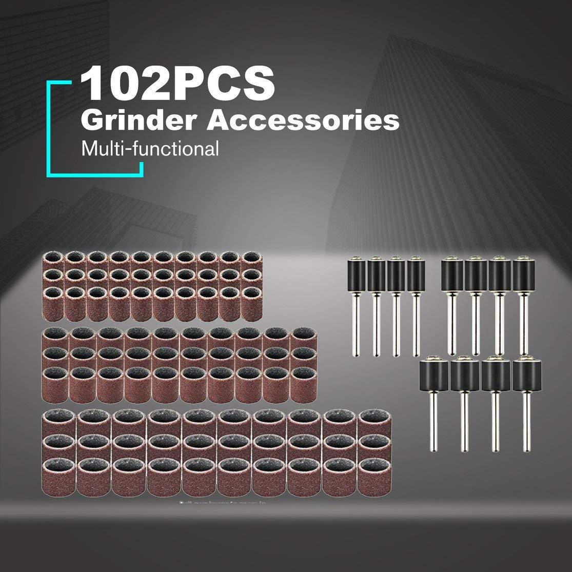 Color: multicolor 102pcs Juego de herramientas el/éctricas rotativas Mini taladro amoladora Kit de pulido Accesorios Bandas de lijado Mandriles de trabajo de madera Kaemma