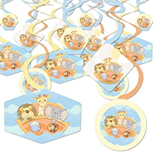 Big Dot of Happiness Noah's Ark - Baby Shower Hanging Decor - Party Decoration Swirls - Set of 40