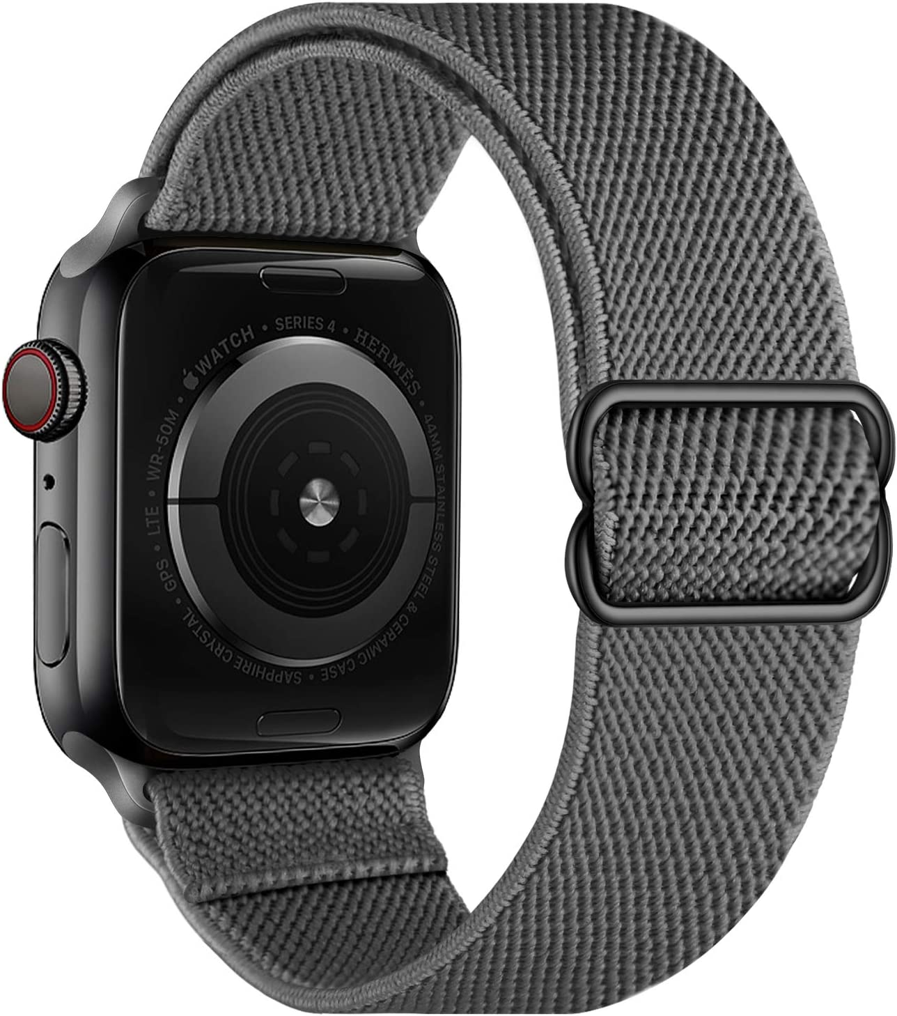 OXWALLEN Stretchy Nylon Solo Loop Compatible with Apple Watch Bands 42mm 44mm, Adjustable Elastic Braided Stretches Women Men Strap for iWatch SE Series 6/5/4/3/2/1,Deep Gray