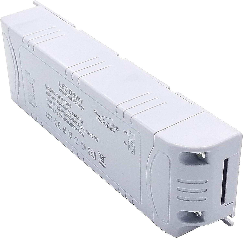 YAYZA 1-Paquete Premium IP44 24V 0.5A 12W Salida de Voltaje Constante 5/%-100/% TRIAC Conductor de LED Regulable Conmutaci/ón de CA CC Transformador de Bajo Voltaje Fuente de Alimentaci/ón