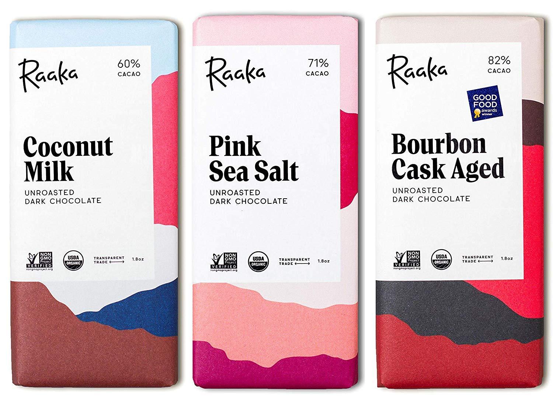 Raaka Chocolate Best Sellers Trio Gift Box | Gourmet Bean-to-Bar Dark Chocolate | Organic, Kosher, Vegan, Gluten-Free, Fair Trade, Paleo | 1.8oz Bars, 3-Pack