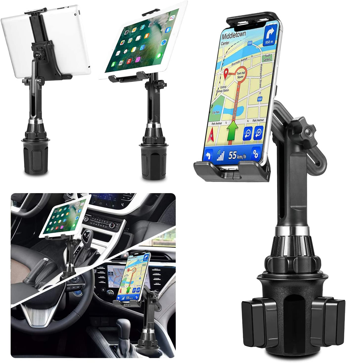 "Samsung LUXMO Cup Holder Phone Mount /& Tablet Holder for Car Galaxy Tab Under 12.9/""Tablet 2-in-1 Car Cradles with Adjustable Neck Extended Cup Holder for Cell Phone iPhone Google /& iPad Air//Mini"