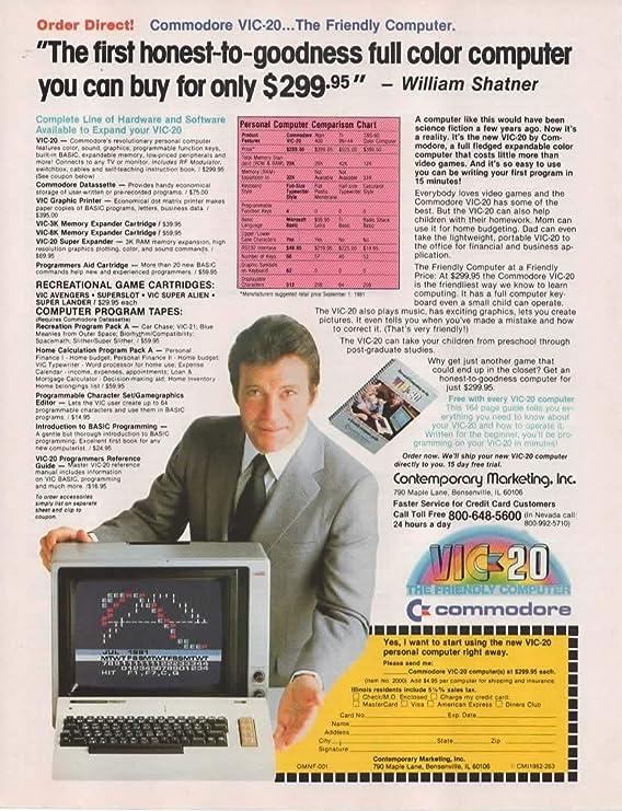 Magazine Print Ad: 1982 William Shatner for Commodore VIC-20