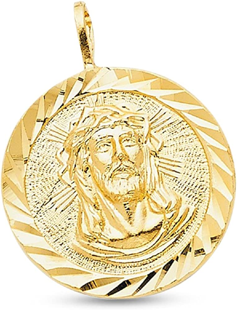 Amazon Com Gemapex 14k Yellow Gold Round Jesus Stamp Pendant Christ Medal Charm Diamond Cut Solid 20 X 20 Mm Jewelry