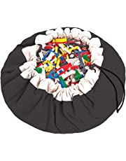 """Play Mat and Toy Storage Bag - Durable Floor Activity Organizer Mat - Large Drawstring Portable Container for Kids Toys, Books - 55"""", Black"""