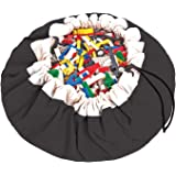 """Play&Go Large Children Drawstring Play Mat and Toy Organizer Storage 55"""" in Bag - Black"""