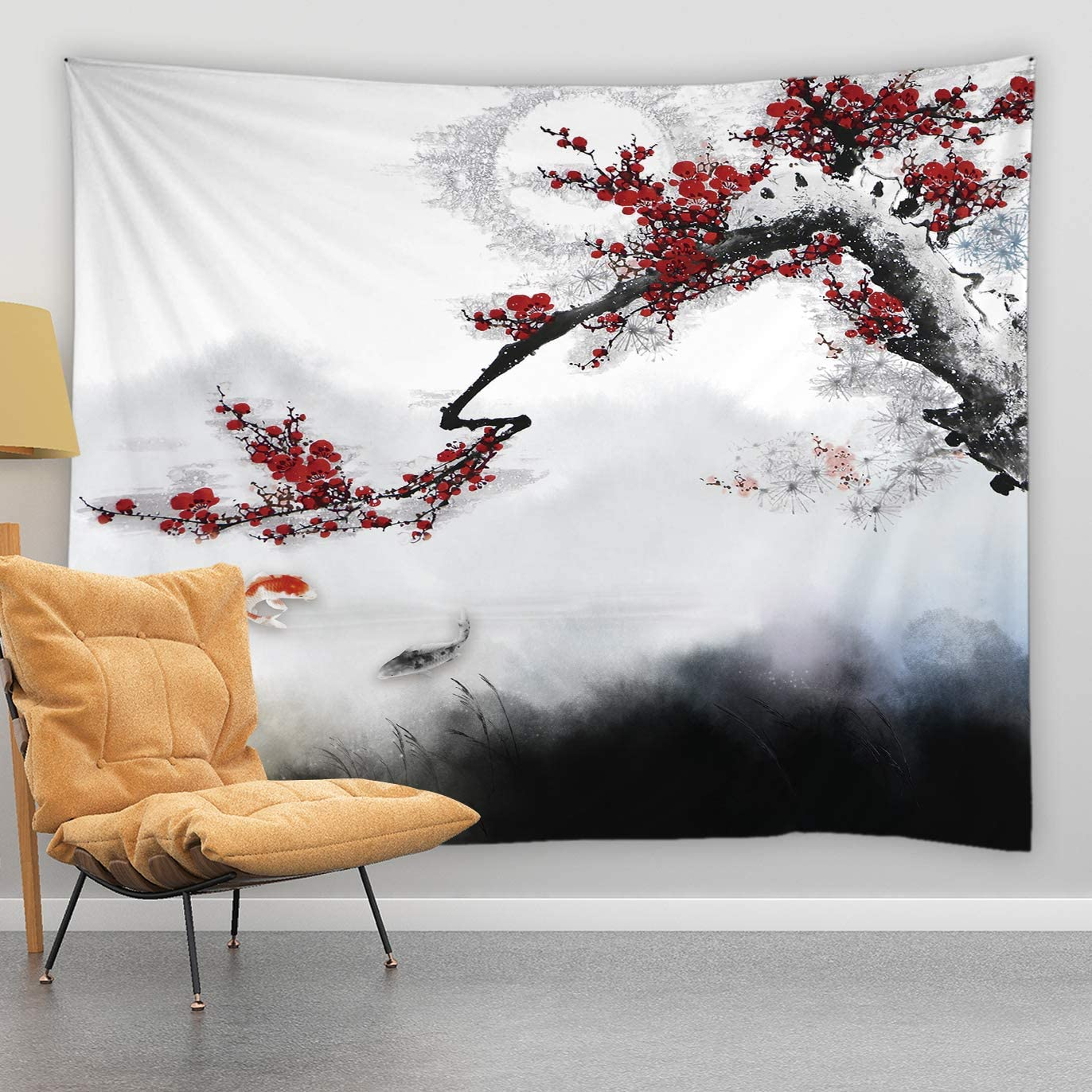 jingjiji Japanese Tapestry Red Plum Blossom Flower Branch Spring Bloom Koi Oriental Traditional Chinese Landscape Ink Painting Asian Zen Garden Wall Hanging Bedroom Living Room Polyester 90 x 71 Inch
