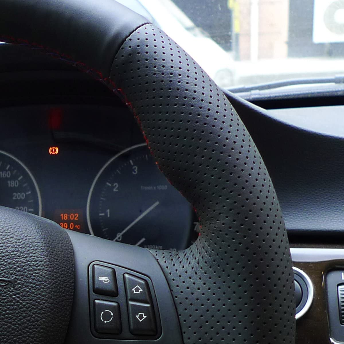 MEWANT Custom Design Version aus Wildleder/&Echtleder Auto Lenkradh/ülle f/ür Sport M3 E90 E91 E92 E93 E87 E81 E82 E88 X1 E84