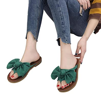 45d559f3b26226 FORUU Women Fashion Solid Color Bow tie Flat Heel Sandals Slipper Beach  Shoes (36