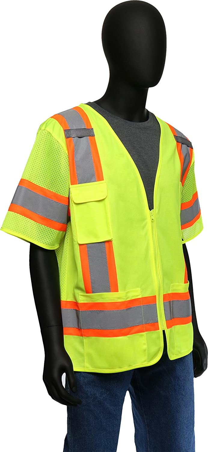 47306//2XL West Chester 47306 Class 3 High Visibility Surveyor Safety Vest Two Tone Short-Sleeved Green XX-Large Westchester Holdings